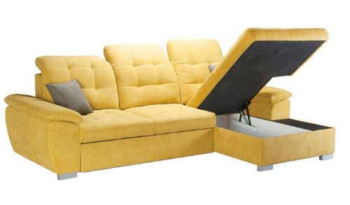 Žlutá rohová sedací souprava s úložným prostorem