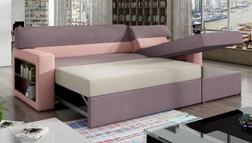 Růžová rohová sedací souprava rozložitelná na postel