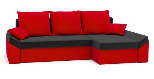 Červená rozkládací rohová sedačka výprodej