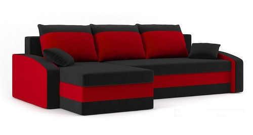 Červeno-černá rohová rozkládací sedací souprava