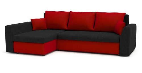 Červeno-černá rohová sedací souprava s možností rozložení na lůžko