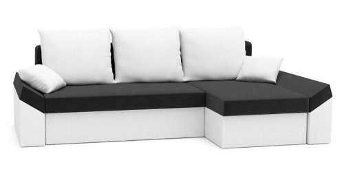 Moderní bílo-černý rohový gauč