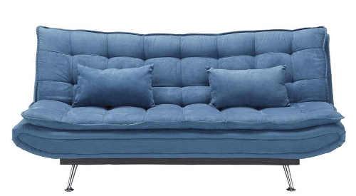 Modrá rozkládací pohovka s pohodlným čalouněním