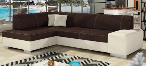 Stylová bílo-hnědá rohová sedací souprava do moderních obývacích pokojů