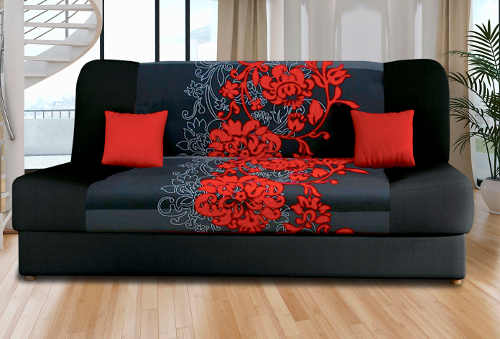 Zajímavá třímístná pohovka motiv červených a šedé květů