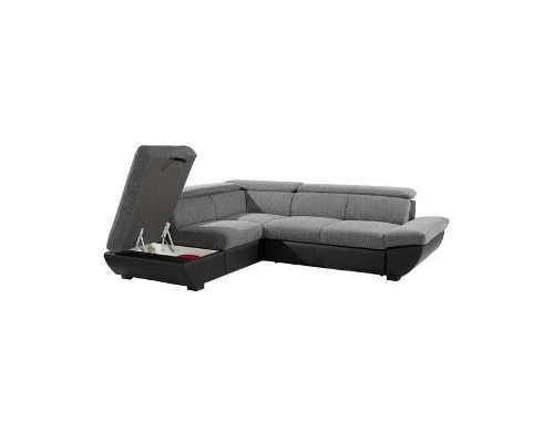 Moderní sedací souprava černo-šedá s úložným místem