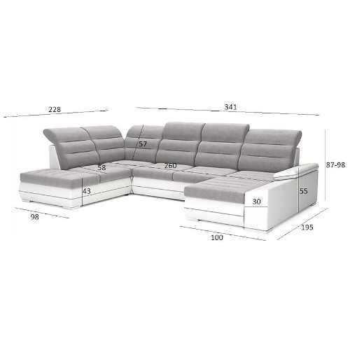 Šedo bílá velká rohová sedačka do obýváku