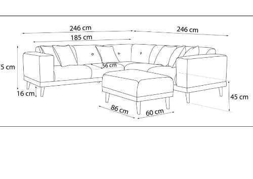 šedá čalouněná rohová sedačka