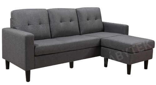 moderní sedačka v šedém provedení s taburetem