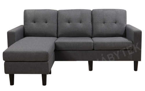 šedá čalouněná sedačka s podnožkou