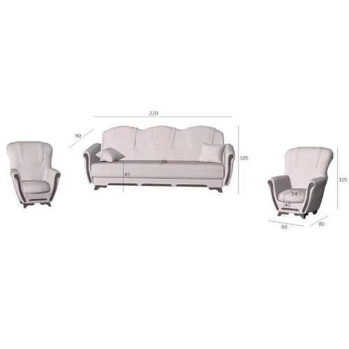 sedačka s křesly v klasickém designu