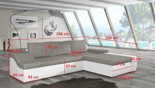 moderní rozkládací sedačka v šedém provedení