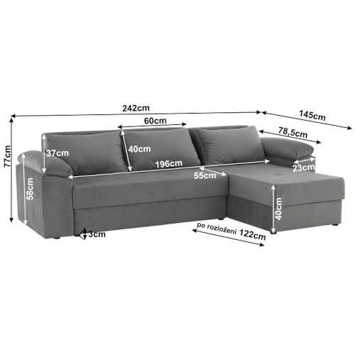 moderní komfortní sedačka šedá