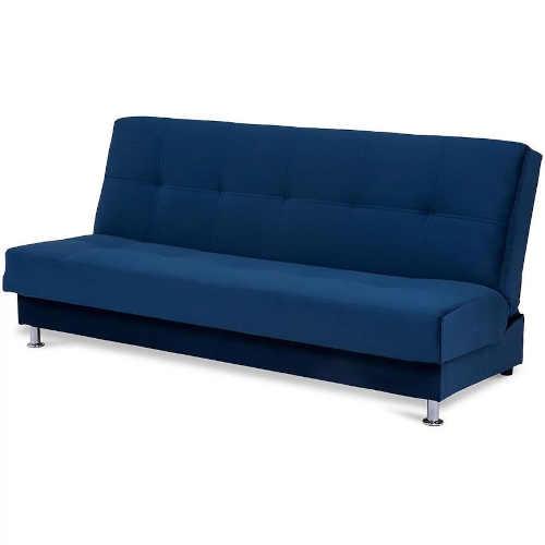 modrá čalouněná moderní pohovka
