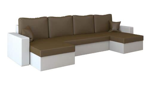 Moderní hranatá rohová rozkládací sedací souprava z eko-kůže