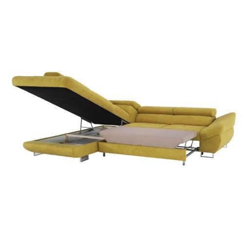 rohová sedací souprava v hořčicové barvě