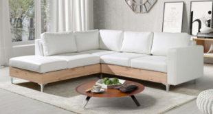 Designová rohová sedačka Hennife s dřevěným prvkem