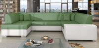 Rozkládací sedačka Malaga ve tvaru U s úložným prostorem - moderní ostré hrany