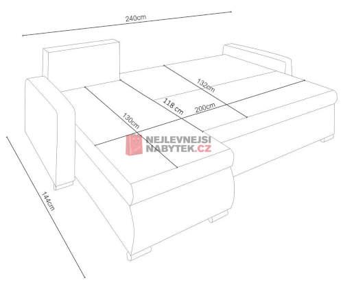 Rozložená sedačka má plochu lůžka 130x200 cm