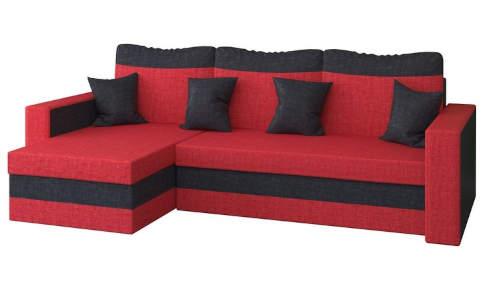 Extravagantní červeno-černá rohová sedací souprava